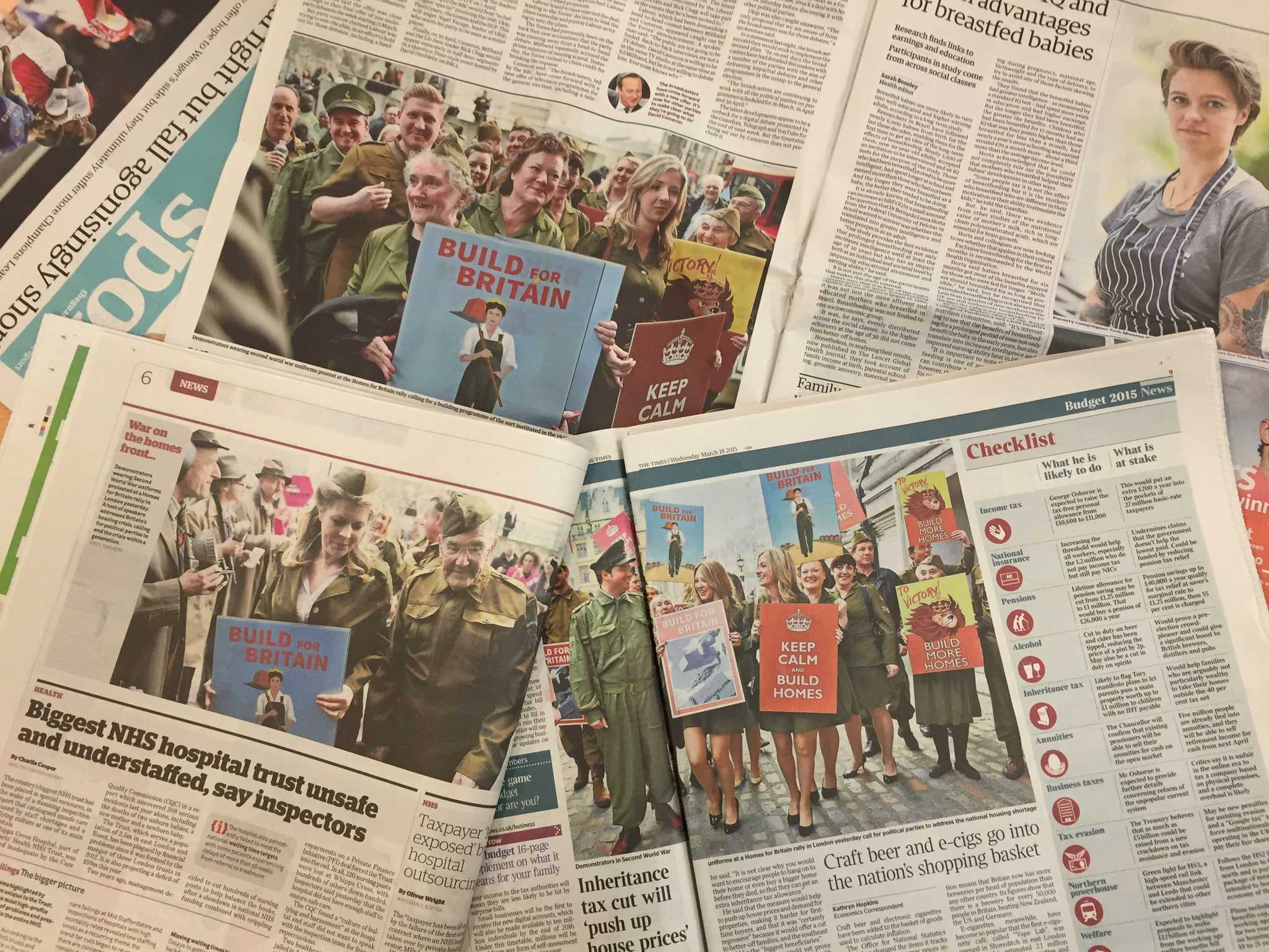 Newspapers with pictures of the Home Guard outfits