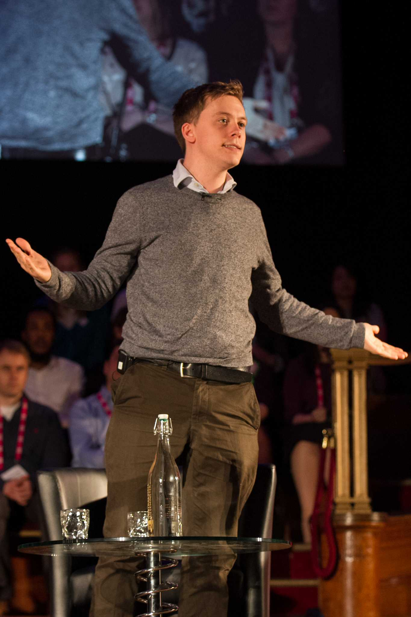 Owen Jones standing at the rally